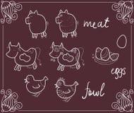 Jedzenie w projektującym blackboard menu ilustracji