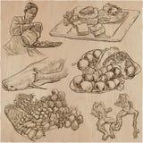 Jedzenie wektoru set dookoła świata - ręka patroszona Obrazy Royalty Free