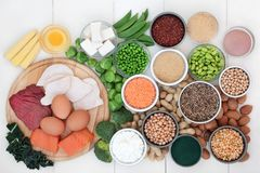 Jedzenie z wysokością - proteinowa zawartość obraz stock