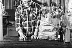Jedzenie, zakupy, internet, online, catering, dostawa, biznes obrazy stock