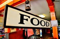 Jedzenie znaka deska Obrazy Stock