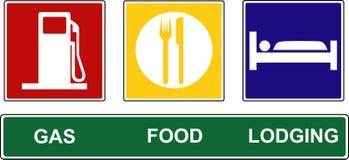 jedzenie znaki benzynowi noclegowi Fotografia Stock