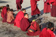 Jedzeniowy w Buddyjskim monasterze, Bhutan Obraz Stock