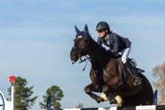 Jeździec kobiety konia doskakiwanie Zdjęcie Stock