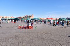 Jeema el Fna广场在马拉喀什 摩洛哥 库存照片