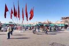 Jeema el Fna广场在马拉喀什 摩洛哥 免版税库存照片