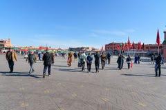 Jeema el Fna广场在马拉喀什 摩洛哥 免版税库存图片