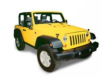Jeep. A bright yellow 4-wheel drive Jeep off road utility vehicle  isolated on a white background. Pen tool clipping path for the car only minus the shadow is