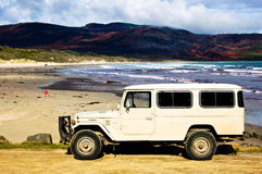 Jeep. In Cloudy bay at Bruni Island Tasmania Australia Royalty Free Stock Photography