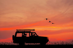 Jeep adventure at sunset Royalty Free Stock Photography