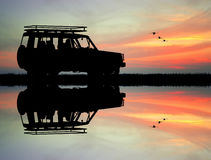 Jeep adventures. Illustration of jeep adventures at sunset Royalty Free Stock Images