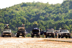 Jeep camp. Small touristic camp at the Eitong Village in Kanchanaburi, Thailand Royalty Free Stock Photography