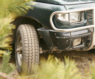 Jeep car. Front of the SUV in forest Royalty Free Stock Image
