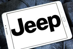 Jeep car logo. Logo of jeep car brand on samsung tablet stock images