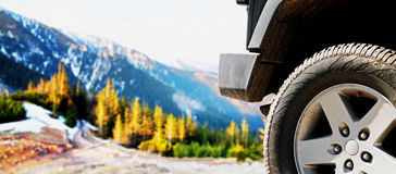 Jeep car offroad dirt adventure trail Stock Images