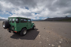 Jeep car volcano crater Stock Photos