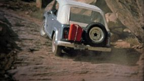 1971: Jeep climbing hills at Elephant Hill off-road track. stock footage