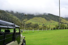 Jeep in the Cocora Valley, near to the colonial town of Salento, in Colombia. The Cocora Valley, a beautiful national park in the Eje Cafetero, an UNESCO stock photos