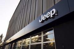 Jeep company logo on dealership building on January 20, 2017 in Prague, Czech republic. Stock Photos