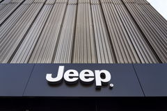 Jeep company logo on dealership building on January 20, 2017 in Prague, Czech republic. Royalty Free Stock Photography
