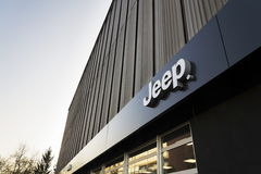 Jeep company logo on dealership building on January 20, 2017 in Prague, Czech republic. Royalty Free Stock Images