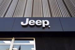 Jeep company logo on dealership building on January 20, 2017 in Prague, Czech republic. Royalty Free Stock Photo