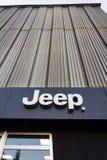 Jeep company logo on dealership building on January 20, 2017 in Prague, Czech republic. Stock Photography