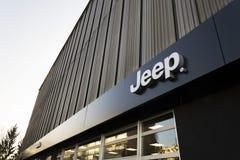 Jeep company logo on dealership building on January 20, 2017 in Prague, Czech republic. Stock Image