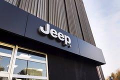 Jeep company logo on dealership building on January 20, 2017 in Prague, Czech republic. Stock Photo