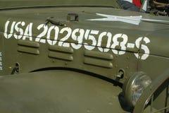 Jeep del ejército con números Fotos de archivo libres de regalías