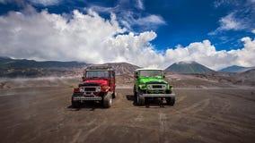 Jeep der Touristen-4x4 für touristische Miete am Berg Bromo in Osttimor, Indonesien Lizenzfreies Stockbild