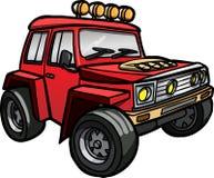 Jeep di rosso del fumetto Isolato colorato Immagini Stock Libere da Diritti