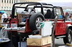 A Jeep Displays Items of Clothing  at Smorgasburg, Loa Angeles Stock Images