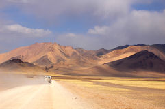 Jeep driving in Tibet Stock Photo