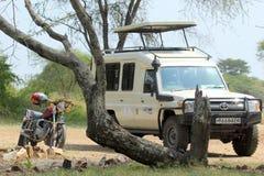 Jeep e motociclo parcheggiati sotto un albero Immagine Stock Libera da Diritti