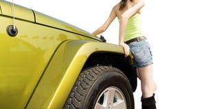 Jeep e ragazza Fotografie Stock Libere da Diritti
