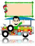 Jeep filippina con la scheda del segno Immagine Stock