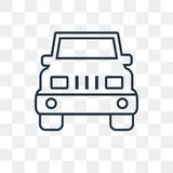 Jeep front vector icon isolated on transparent background, linear Jeep front transparency concept can be used web and mobile stock illustration
