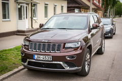 Jeep Grand Cherokee parked on the street Royalty Free Stock Images