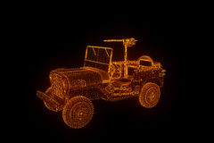 Jeep in Hologram Wireframe Style. Nice 3D Rendering Stock Images