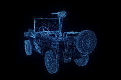 Jeep in Hologram Wireframe Style. Nice 3D Rendering Stock Photos