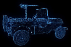 Jeep in Hologram Wireframe Style. Nice 3D Rendering Stock Photo