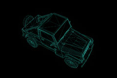 Jeep in Hologram Wireframe Style. Nice 3D Rendering Royalty Free Stock Photo