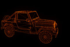 Jeep in Hologram Wireframe Style. Nice 3D Rendering Stock Photography
