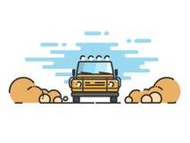 Jeep i rörelse på en safaritur Arkivfoton