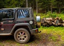 Jeep i skogen Arkivfoto