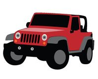 Jeep illustration. Illustration of a red jeep Stock Photos
