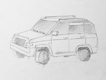 Jeep, illustration de crayon Photographie stock