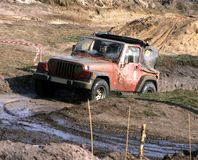 Jeep In The Mud Road Stock Photos
