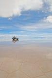 Jeep In The Salt Lake Salar De Uyuni, Bolivia Stock Photography